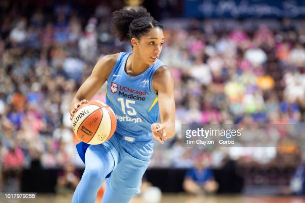Gabby Williams of the Chicago Sky in action during the Connecticut Sun Vs Chicago Sky WNBA regular season game at Mohegan Sun Arena on August 12 2018...