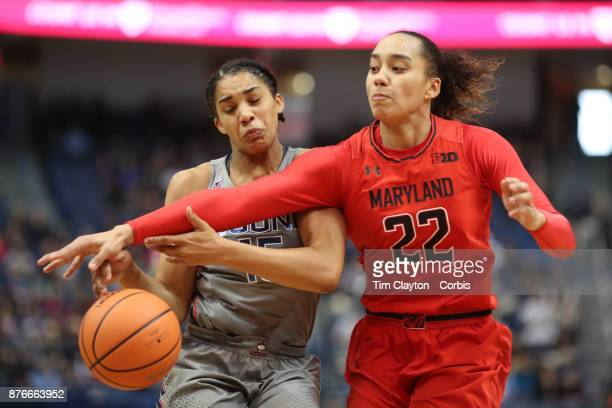 Gabby Williams of the Connecticut Huskies is would by Blair Watson of the Maryland Terrapins during the the UConn Huskies Vs Maryland Terrapins NCAA...