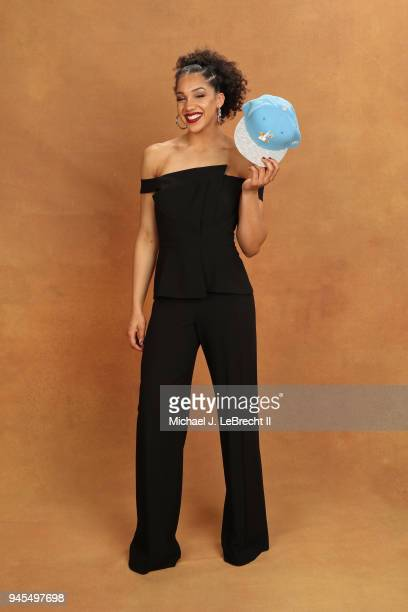 Gabby Williams pose for a portrait after being selected number four overall by the Chicago Sky during the WNBA Draft on April 12 2018 in New York New...