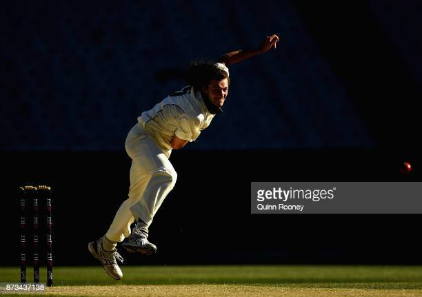 Gabe Bell of Tasmania bowls during day one of the Sheffield Shield match between Victoria and Tasmania at Melbourne Cricket Ground on November 13...