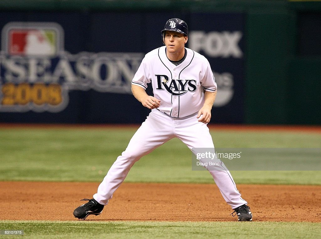 Gabe Gross #26 of the Tampa Bay Rays takes a lead off first base against the Chicago White Sox in Game 1 of the American Leaugue Divisional Series at Tropicana Field on October 2, 2008 in St. Petersburg, Florida. The Rays defeated the White Sox 6-4.