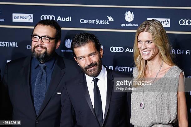 Gabe Ibanez Antonio Banderas and Nadja Schildknecht attend the 'Automata' Green Carpet Arrivals during Day 2 of Zurich Film Festival 2014 on...