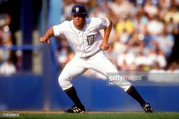 Gabe Kapler of the Detroit Tigers leads off first base during a baseball game against the St Louis Cardinals on June 7 1999 at Tigers Stadium in...