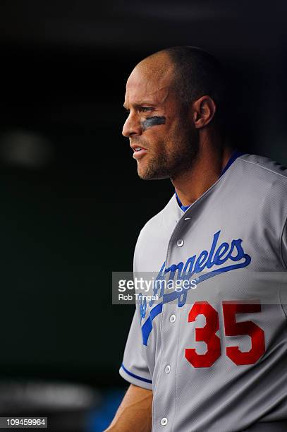 Gabe Kapler of the Los Angeles Dodgers looks on during a spring training game against the San Francisco Giants at Scottsdale Stadium on February 26...