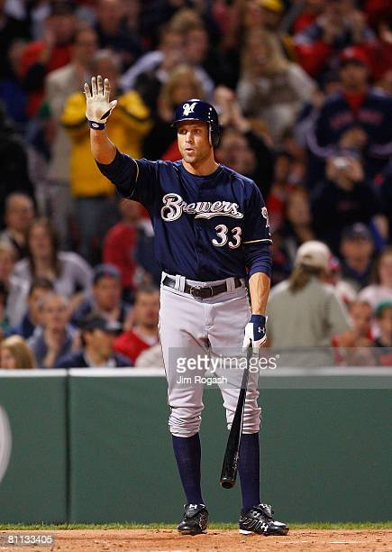 Gabe Kapler of the Milwaukee Brewers face his former team, the Boston Red Sox, during the second game of a doubleheader at Fenway Park on May 17,...