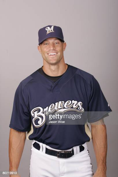 Gabe Kapler of the Milwaukee Brewers poses for a portrait during photo day at Maryvale Stadium on February 26 2008 in Phoenix Arizona