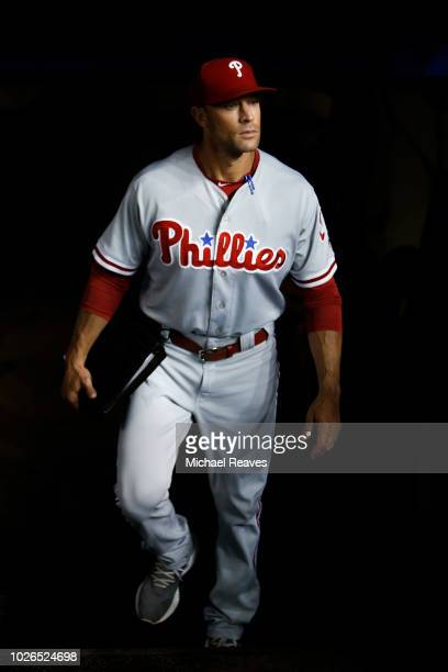 Gabe Kapler of the Philadelphia Phillies enters the dugout prior to the game against the Miami Marlins at Marlins Park on September 3, 2018 in Miami,...
