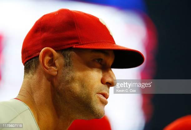 Gabe Kapler of the Philadelphia Phillies looks on during the second inning against the Atlanta Braves at SunTrust Park on September 18 2019 in...