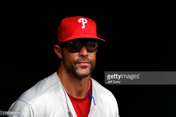 Gabe Kapler of the Philadelphia Phillies looks on from the dugout prior to a game against the St. Louis Cardinals at Busch Stadium on May 8, 2019 in...