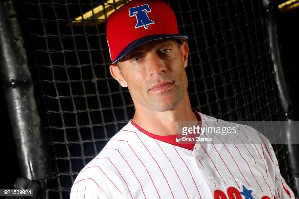 Gabe Kapler of the Philadelphia Phillies poses for a portrait on February 20 2018 at Spectrum Field in Clearwater Florida