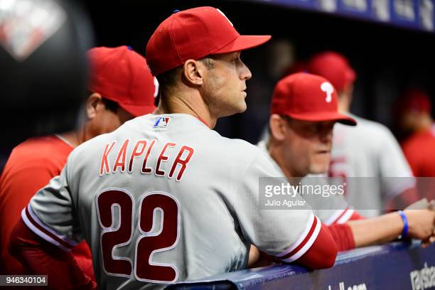 ST PETERSBURG FL Gabe Kapler of the Philadelphia Phillies watches on during the top of the eighth inning against the Tampa Bay Rays on April 14 2018...