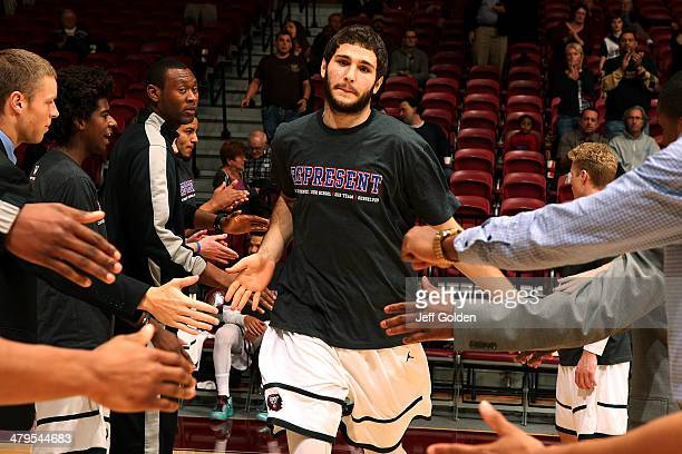 Gabe Levin of the Loyola Marymount Lions is introduced before the game against the Pepperdine Waves at Gersten Pavilion on February 20 2014 in Los...