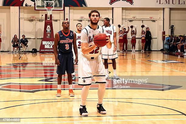 Gabe Levin of the Loyola Marymount Lions shoots and makes the first of two free throws against the Pepperdine Waves with 1459 remaining in the first...