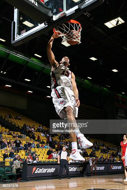 Gabe Pruitt of the Utah Flash slams the ball against the Idaho Stampede on March 13, 2008 at the David O. McKay Events Center in Orem, Utah. NOTE TO...