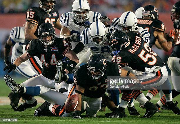 Gabe Reid of the Chicago Bears can't hold on to the ball in the first quarter against the Indianapolis Colts during Super Bowl XLI on February 4 2007...