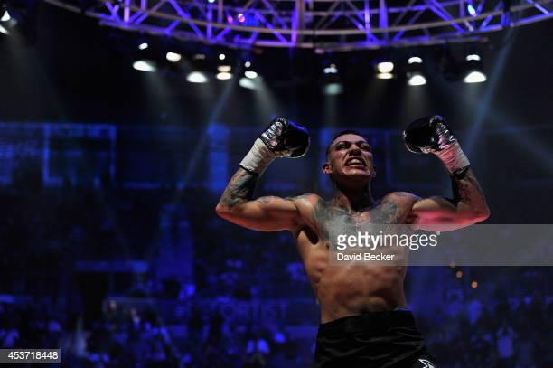 Gabe Rosado celebrates his sixthround TKO victory over Bryan Vera during their middleweight championship fight at the inaugural event for BKB Big...