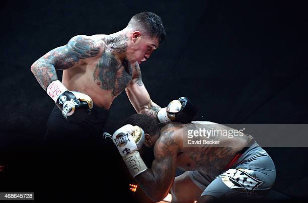 Gabe Rosado fights Curtis Stevens during BKB 2 Big Knockout Boxing at the Mandalay Bay Events Center on April 4 2015 in Las Vegas Nevada The...