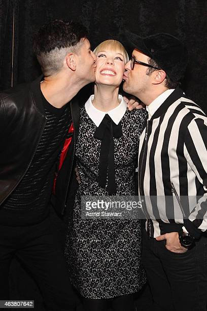 Gabe Saporta Erin Featherston and Andrew Bevan pose at the TRESemme at Erin Fetherston fashion show during MercedesBenz Fashion Week Fall 2015 on...