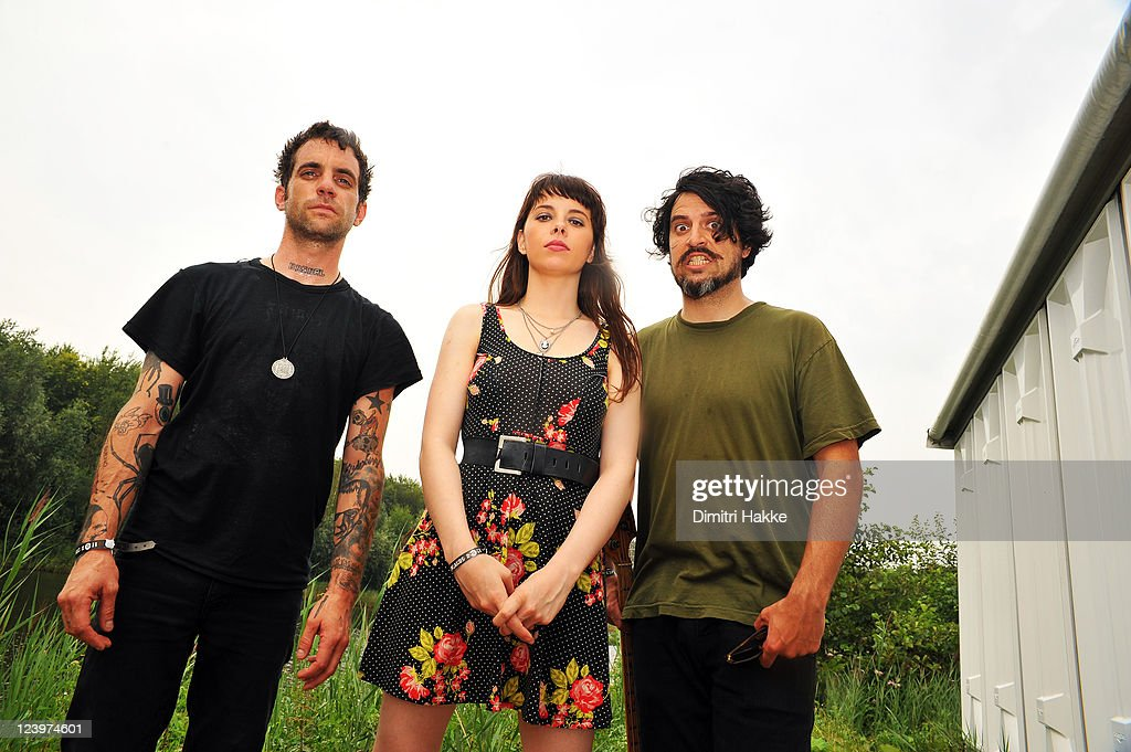 Gabe Serbian, Teri Gender Bender and Jonathan Hischke of Le Butcherettes pose backstage at Lowlands Festival on August 21, 2011 in Biddinghuizen, Netherlands.
