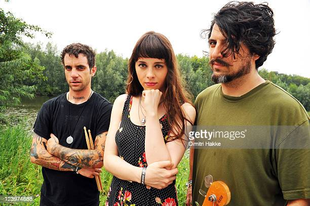 Gabe Serbian Teri Gender Bender and Jonathan Hischke of Le Butcherettes pose backstage at Lowlands Festival on August 21 2011 in Biddinghuizen...