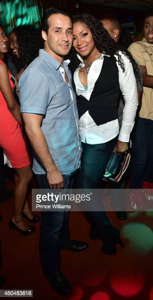 Gabe Solis and Trina Braxton attend the after party for the Think Like A Man Too premiere at Suite Food Lounge on June 11 2014 in Atlanta Georgia