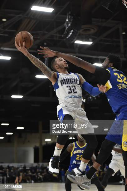 Gabe York of the Lakeland Magic drives to the basket against the Santa Cruz Warriors during the NBA G League Winter Showcase on December 20, 2018 at...