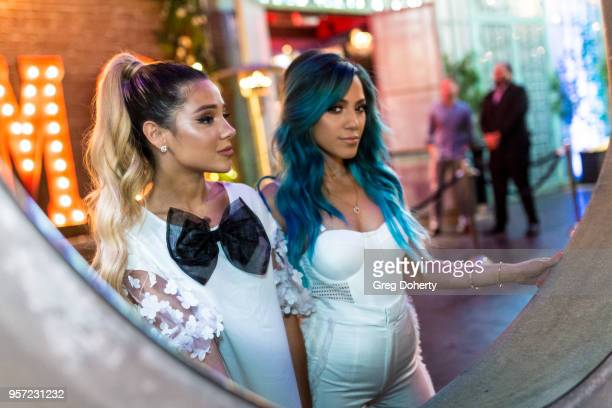 Gabi and Niki DeMartino attend the Niki Gabi DeMartino X Bellami Collection Launch Party at Avenue on May 10 2018 in Los Angeles California