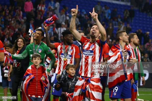 Gabi Atletico of Madrid celebration at Groupama Stadium in Lyon France on May 16 2018 during UEFA Europa League final football match between...