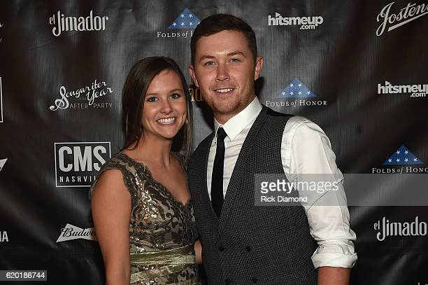 Gabi Dugal and Scotty McCreery attend the Folds of Honor/CMS Nashville Songwriter of the Year Party during the 50th annual CMA Awards week on...