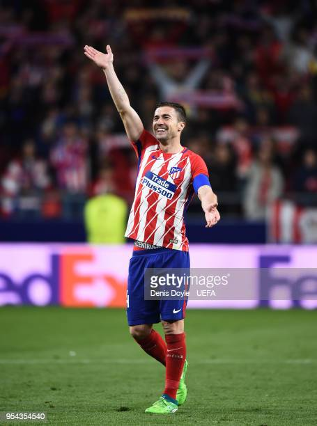 Gabi Fernandez of Atletico de Madrid celebrates after his team beat Arsenal 10 in the UEFA Europa League Semi Final second leg match between Atletico...