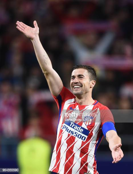Gabi Fernandez of Atletico de Madrid celebrates after his team beat Arsenal 1-0 in the UEFA Europa League Semi Final second leg match between...