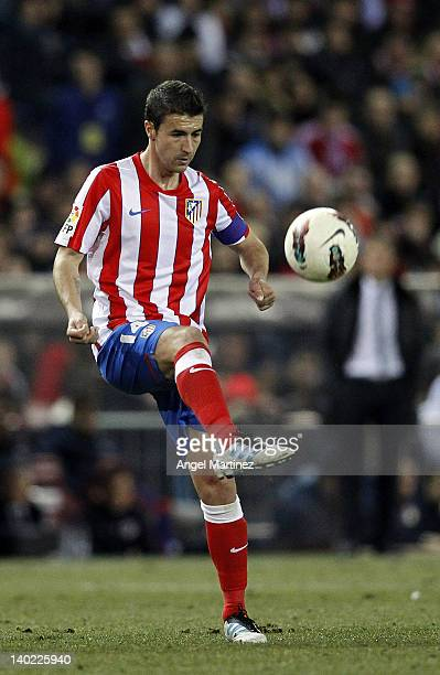 Gabi Fernandez of Atletico Madrid in action during the La Liga match between Atletico Madrid and Barcelona at Vicente Calderon Stadium on February 26...