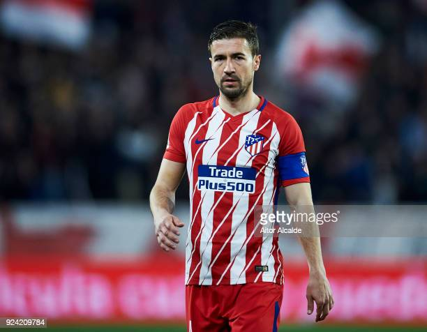 Gabi Fernandez of Atletico Madrid reacts during the La Liga match between Sevilla CF and Atletico Madrid at Estadio Ramon Sanchez Pizjuan on February...