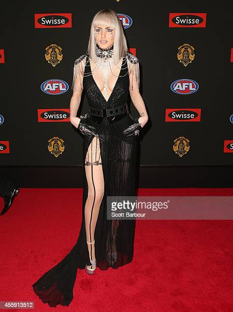 Gabi Grecko the partner of Geoffrey Edelsten attends the 2014 Brownlow Medal at Crown Palladium on September 22 2014 in Melbourne Australia