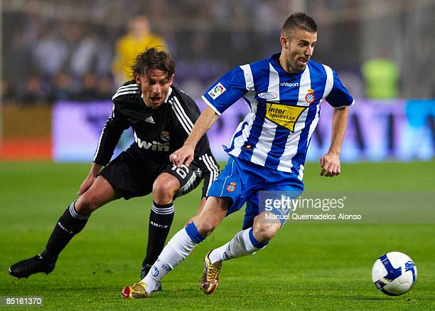 Gabi Heinze of Real Madrid competes for the ball with Luis Garcia of Espanyol during the La Liga match between Espanyol and Real Madrid at the...
