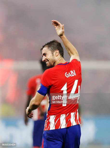 Gabi of Athletico Madrid celebrates scoring his sides third goal during the UEFA Europa League Final between Olympique de Marseille and Club Atletico...