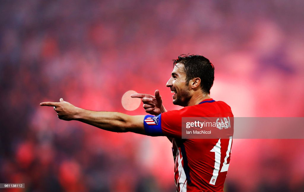 Gabi of Athletico Madrid celebrates scoring his sides third goal during the UEFA Europa League Final between Olympique de Marseille and Club Atletico de Madrid at Stade de Lyon on May 16, 2018 in Lyon, France.