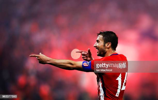 Gabi of Athletico Madrid celebrates scoring his sides third goalduring the UEFA Europa League Final between Olympique de Marseille and Club Atletico...