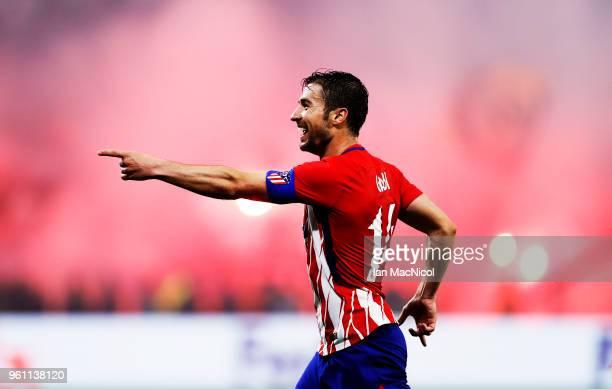 Gabi of Athletico Madrid celebrates scoring his team's third goal during the UEFA Europa League Final between Olympique de Marseille and Club...