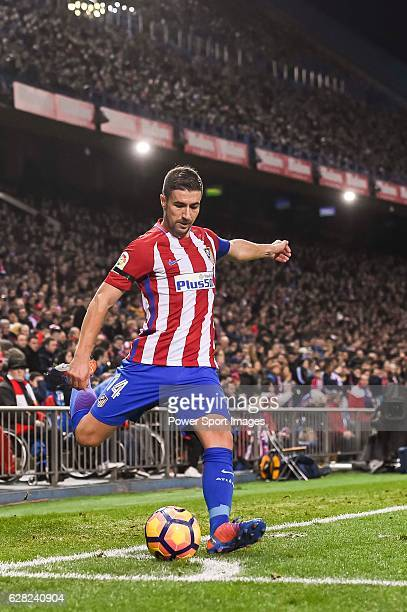 Gabi of Atletico de Madrid in action during the La Liga match between Atletico de Madrid and RCD Espanyol at the Vicente Calderon Stadium on 03...
