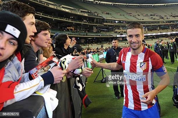 Gabi of Atletico de Madrid with fans after 2016 International Champions Cup Australia match between Tottenham Hotspur and Atletico de Madrid at...