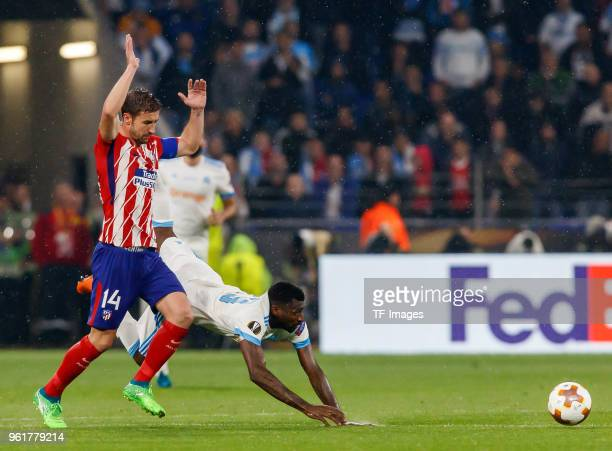 Gabi of Atletico Madrid and Andre Zambo Anguissa of Marseille battle for the ball during the UEFA Europa League Final between Olympique de Marseille...