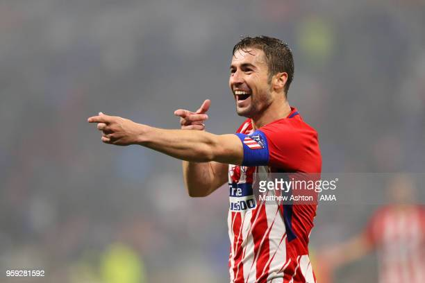 Gabi of Atletico Madrid celebrates scoring a goal to make it 03 during the UEFA Europa League Final between Olympique de Marseille and Club Atletico...