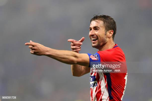 Gabi of Atletico Madrid celebrates scoring a goal to make it 0-3 during the UEFA Europa League Final between Olympique de Marseille and Club Atletico...