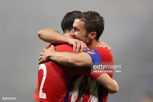 Gabi of Atletico Madrid celebrates scoring a goal to make it 03 with Diego Godin during the UEFA Europa League Final between Olympique de Marseille...