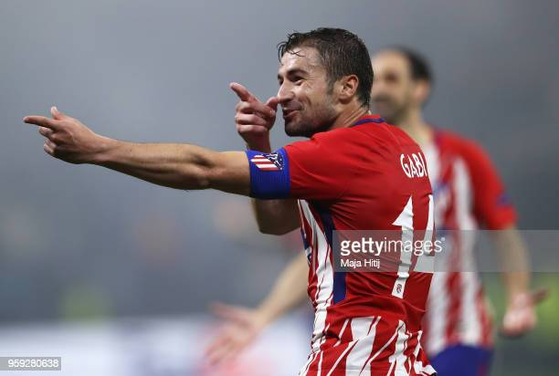 Gabi of Atletico Madrid celebrates scoring his team's third goal of the game during the UEFA Europa League Final between Olympique de Marseille and...