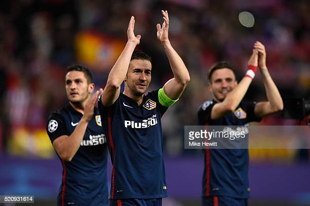 Gabi of Atletico Madrid celebrates with team mates after the UEFA Champions League quarter final second leg match between Club Atletico de Madrid and...