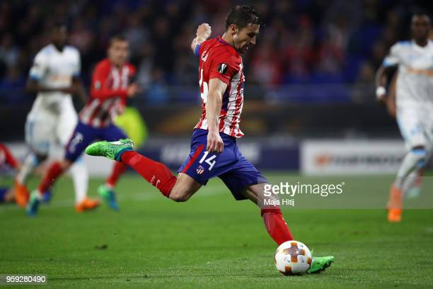 Gabi of Atletico Madrid scores his team's third goal of the game during the UEFA Europa League Final between Olympique de Marseille and Club Atletico...