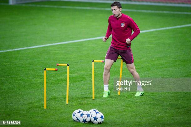 Gabi of Atletico warms up during the training prior the UEFA Champions League Round of 16 first leg match between Bayer Leverkusen and Club Atletico...