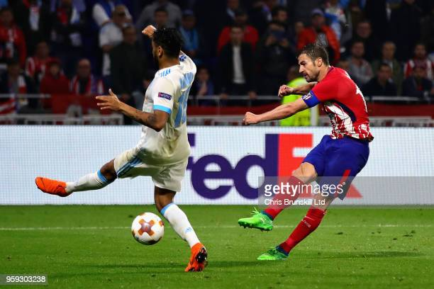 Gabi of Club Atletico de Madrid scores his sides third goal during the UEFA Europa League Final between Olympique de Marseille and Club Atletico de...